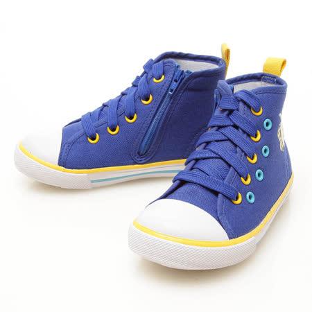 Roberta諾貝達 百搭徽章款舒適柔軟鞋墊高筒帆布鞋 613773-藍