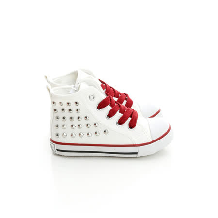 Roberta諾貝達 百搭鉚釘舒適柔軟彈性鞋墊高筒帆布鞋 613775-白
