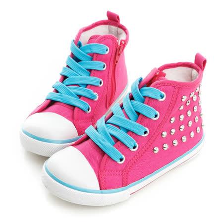 Roberta諾貝達 百搭鉚釘舒適柔軟彈性鞋墊高筒帆布鞋 613775-桃
