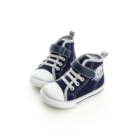 Roberta諾貝達 舒適柔軟彈性鞋墊中筒休閒帆布鞋 614911-深藍