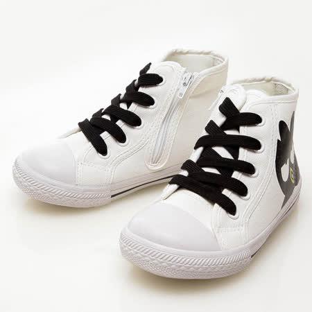 Bad Badtz-maru酷企鵝 個性百搭款舒適柔軟鞋墊高筒帆布鞋 713597-白