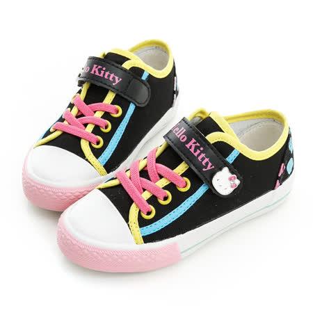 Hello Kitty 剪影系列舒適柔軟彈性鞋墊休閒帆布鞋 714730-黑