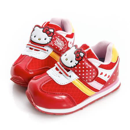Hello Kitty 輕量透氣腳床型抗菌防臭鞋墊休閒慢跑鞋 714855-紅