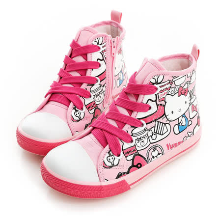 Hello Kitty 塗鴉系列舒適柔軟彈性鞋墊休閒中筒帆布鞋 714863-粉
