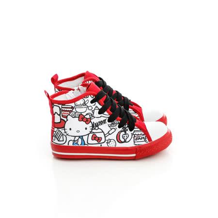 Hello Kitty 塗鴉系列舒適柔軟彈性鞋墊休閒中筒帆布鞋 714863-白紅