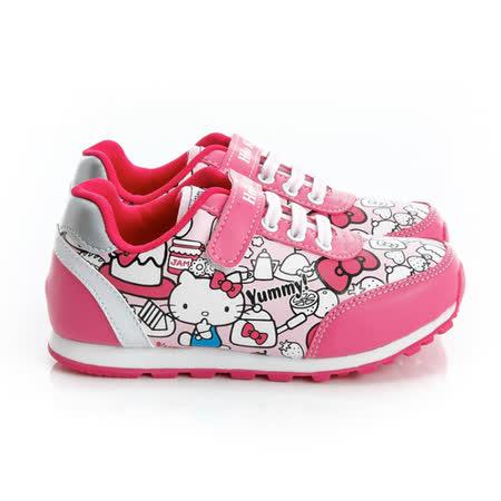 Hello Kitty 塗鴉風舒適抗菌防臭鞋墊休閒慢跑鞋 714870-粉