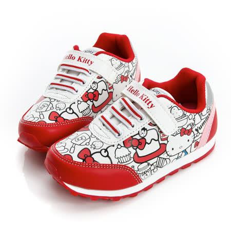Hello Kitty 塗鴉風舒適抗菌防臭鞋墊休閒慢跑鞋 714870-白紅