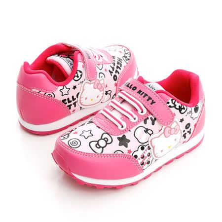 Hello Kitty 塗鴉系列舒適抗菌防臭鞋墊休閒慢跑鞋 714871-粉