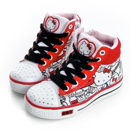 Hello Kitty 塗鴉系列碎鑽腳床型抗菌防臭鞋墊高筒帆布鞋 714880-白紅