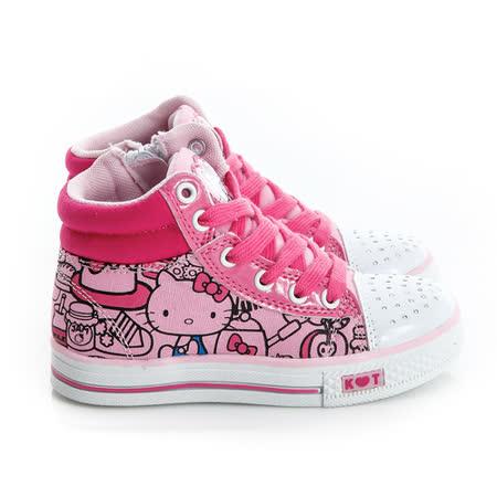 Hello Kitty 塗鴉系列碎鑽腳床型抗菌防臭鞋墊高筒帆布鞋 714880-粉