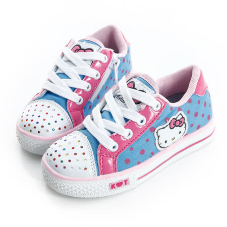 Hello Kitty 點點風碎鑽腳床型抗菌防臭鞋墊休閒帆布鞋 714881-水
