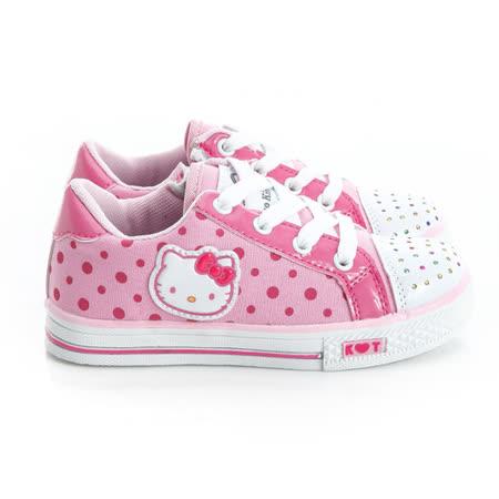 Hello Kitty 點點風碎鑽腳床型抗菌防臭鞋墊休閒帆布鞋 714881-粉
