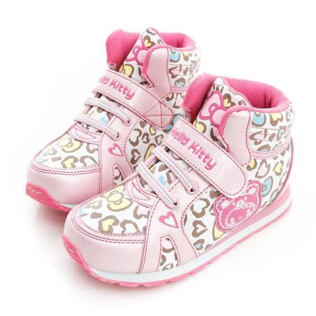 Hello Kitty 愛心豹紋腳床型抗菌防臭吸震鞋墊中筒休閒慢跑鞋 714888-白粉
