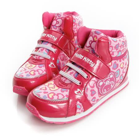 Hello Kitty 愛心豹紋腳床型抗菌防臭吸震鞋墊中筒休閒慢跑鞋 714888-粉