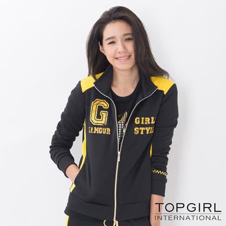 TOP GIRL-撞色拼接立領針織印花外套-女(神祕黑)(品特)