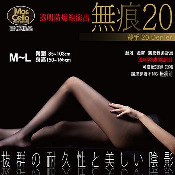 瑪榭 無痕20透明防爆線絲襪-黑/膚