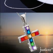 【justlove璀璨配飾】全純銀晶鑽0.2克拉10顆十字架女男短項鍊(NL-0065)