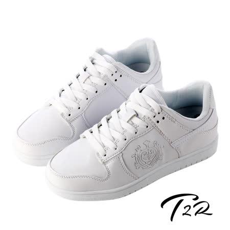【韓國T2R】皇家徽章內增高休閒鞋↑7cm 白色(5600-0180)