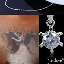 【justlove璀璨配飾】純銀鍊條晶鑽0.7克拉八心八箭六爪鑲嵌短項鍊(銀 NL-0068)