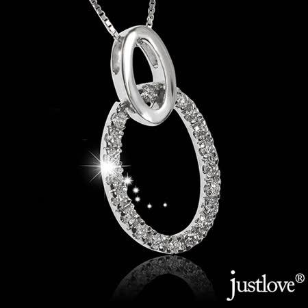 【justlove璀璨配飾】純銀鍊條施華洛世奇晶鑽橢圓形墜子項鍊鎖骨鍊(銀)NL-0070