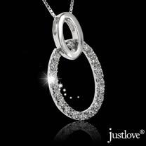 【justlove璀璨配飾】純銀鍊條防過敏防褪色晶鑽19顆摩天輪女男短項鍊(銀 NL-0070)