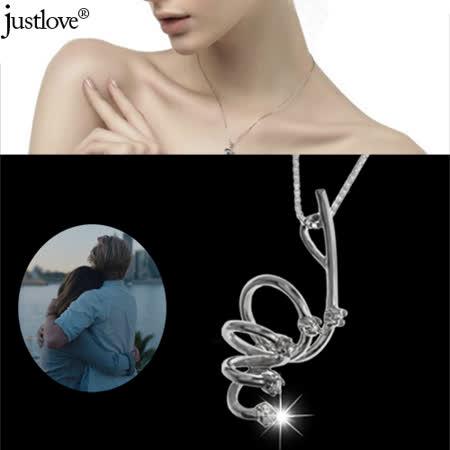 【justlove璀璨配飾】925純銀鍊條纏綿繾綣精鍍白k金晶鑽項鍊鎖骨鍊(銀)NL-0071