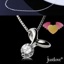 【justlove璀璨配飾】全純銀晶鑽0.5克拉雙翼愛心女男短項鍊(銀 NL-0084)