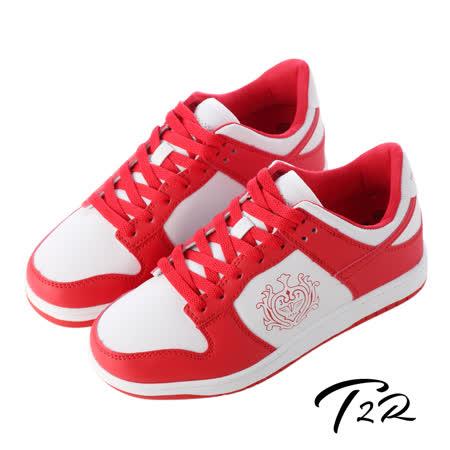 【韓國T2R】皇家徽章內增高休閒鞋↑7cm 紅白(5600-0181)