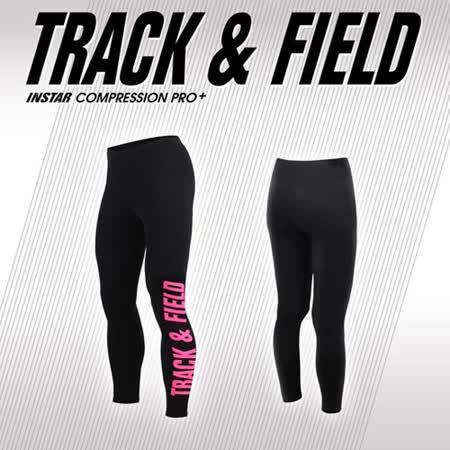 (男女) INSTAR TRACK&FIELD 緊身長褲-路跑 慢跑 台灣製 黑粉紅