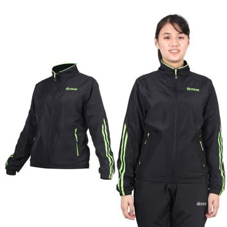 (女) FIRESTAR 立領磨毛裏夾克-風衣外套 防潑水 防風 黑螢光綠