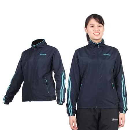 (女) FIRESTAR 立領磨毛裏夾克-風衣外套 防潑水 防風 丈青水藍
