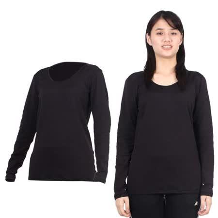 (女) PARABOLA U領保暖排汗衣-長袖T恤 黑