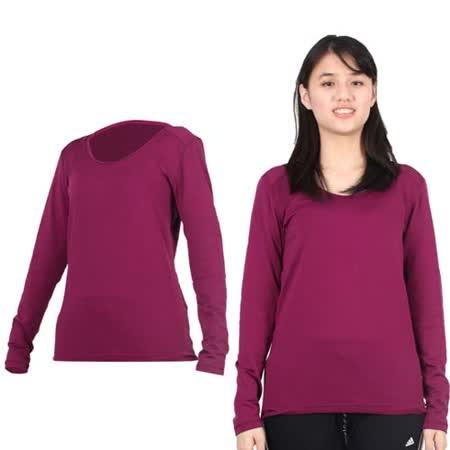 (女) PARABOLA U領保暖排汗衣-長袖T恤 紫