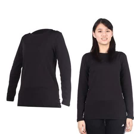 (女) PARABOLA 圓領保暖排汗衣-長袖T恤 黑