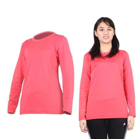 (女) PARABOLA 圓領保暖排汗衣-長袖T恤 桃紅