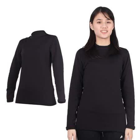 (女) PARABOLA 高領保暖排汗衣-長袖T恤 黑