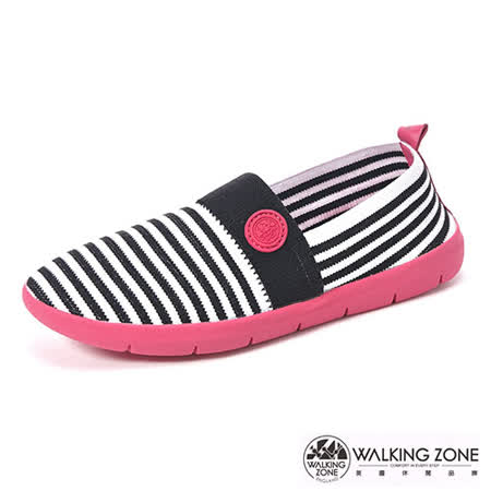 【WALKING ZONE】 (女)3D超彈力條紋女鞋COLOR RUN-黑(另有灰/藍)