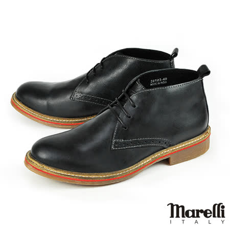 【marelli】歐式質感休閒短靴/沙漠靴 黑色(28103-BL)