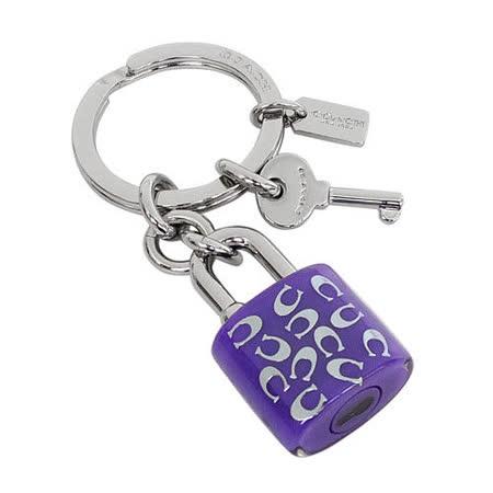 COACH 淺紫銀字C Logo鎖頭組造型鑰匙圈