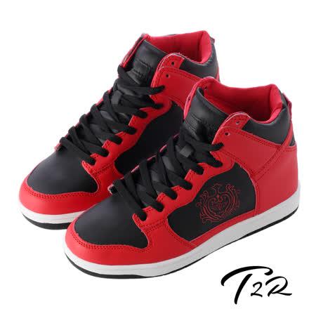 【韓國T2R】皇家徽章高筒內增高休閒鞋↑8cm 紅黑(5600-0185)