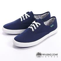 WALKING ZONE (女)果漾YOUNG純棉帆布女鞋-深藍(另有黑/白/紅/黃/藍/粉)