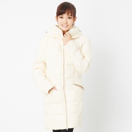 TOP GIRL 連帽長版羽絨外套-米白