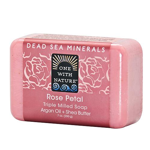 美國One With Nature死海礦物皂~玫瑰花瓣ROSE PETAL SOAP