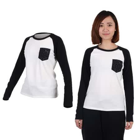 (女) PUMA 拼接袖薄長T恤-長袖T恤 休閒 慢跑 白黑