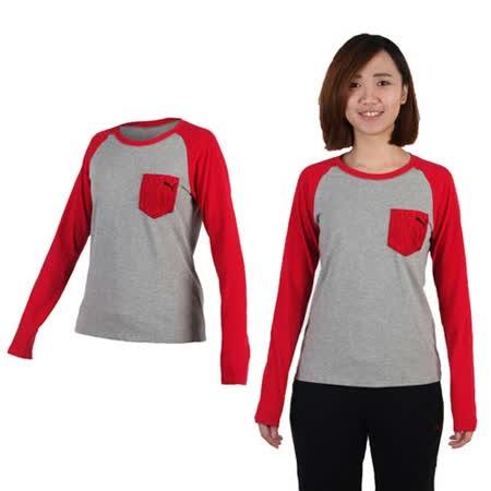 (女) PUMA 拼接袖薄長T恤-長袖T恤 休閒 慢跑 灰紅