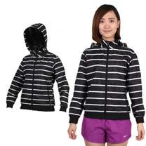 (女) SOFO 網裡條紋外套-防風 連帽 慢跑 路跑 黑白條紋