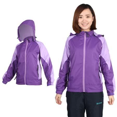 (女) SOFO 拉絨風衣外套-防風 刷毛 慢跑 路跑 連帽 薰衣紫