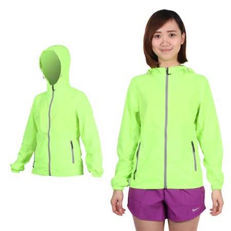 (女) SOFO 薄風衣外套-可收納 連帽 慢跑 路跑 螢光綠