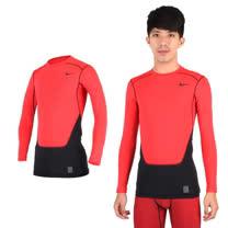 (男) NIKE PRO COMBAT長袖緊身衣-保暖 慢跑 健身 重訓 T恤 橘紅黑