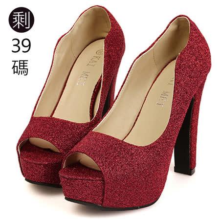 《JOYCE》高貴氣質閃亮金蔥魚口高跟鞋-紅